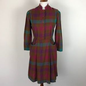 Vintage Size 7/8 Avon Dress Wool Blend Plaid